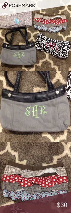 "Thirty One Skirt Purse So versatile- Hardly used. EUC! Change out each ""skirt"" for your purse to get a new color or different style. Comes with Purse and 4 skirts shown. Ruffle, Grey with SHR, Snake print with Aqua S, Black and white with Hot pink SHR. Thirty One Bags Shoulder Bags"