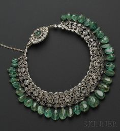 Vintage diamond and emerald collar-style necklace, with rose-cut diamonds and 35 emerald bead drops.