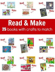 Awesome list of 25 popular childrens books with easy crafts to match.