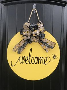 Spring Door Hanger Wreath Welcome Sign Welcome Wood Sign Wooden Door Signs, Wooden Door Hangers, Wood Signs, Letter Door Hangers, Pallet Signs, Welcome Wood Sign, Welcome Signs Front Door, Halloween Door Hangers, Christmas Door Hangers