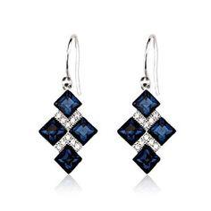 Eikoh Deep Blue Diamond Elegant Austria Crystal Earrings