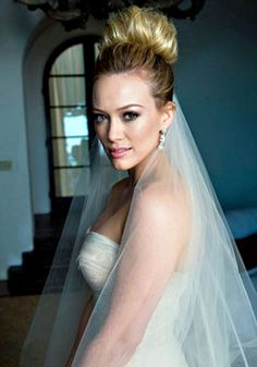 Hilary Duff in Her Wedding Gown - OK! Magazine has the exclusive photos that reveal Hilary Duff in her beautiful wedding dress - and even though the issue isn't selling as expected, th. High Bun Wedding, Diy Wedding Hair, Wedding Makeup, Wedding Ideas, Wedding Photos, Wedding Dresses, Wedding Styles, Bridal Hair And Makeup, Hair Makeup