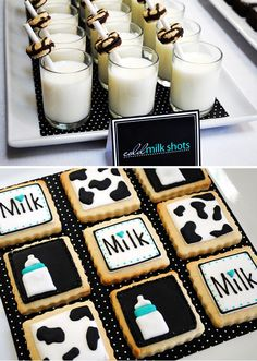 Milkaholic baby shower - look at these 100 calorie cookies around a straw! So clever! theme infant new mom cookie drink snack party
