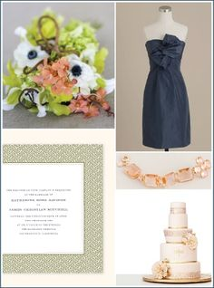 blush pink navy blue and green weddings - Google Search