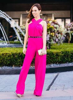 Inspired By: Scarlett Johansson's Pink Jumpsuit, spring style, outfit inspiration, romper Trina Turk Jumpsuit, Pink Jumpsuit, Jumpsuit Style, Scarlett Johansson, Celebrity Outfits, Celebrity Style, Moda Petite, Checkered Outfit, Hot Pink