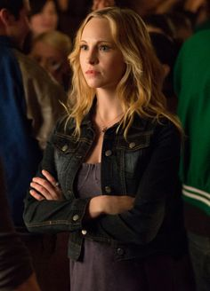 Caroline's bustier dress and denim jacket on The Vampire Diaries.  Outfit Details: http://wornontv.net/13657/ #TheVampireDiaries