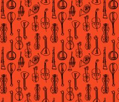 Music Instruments - Vermillion fabric by andrea_lauren on Spoonflower - custom fabric