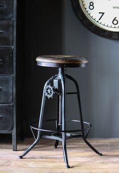 Industrial Clock House Stool. Buy now from wheresaintsgo.co.uk/ for £175.00.