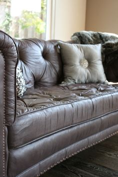 Nancy and I just painted the upholstery on this gorgeous chesterfield sofa in the same home that...
