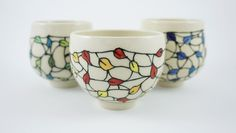 Porcelain Tea Cup, Japanese Inspired Tea Bowl (short), Wheel Thrown, with hand-drawn Falling Leaf design (RED, GREEN or BLUE) - pinned by pin4etsy.com