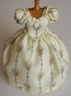 Beautiful Handmade 1/12 scale dollhouse miniature cream print day dress on mannequin.