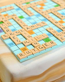 Scrabble cake. I can't imagine making this but it would be fun to have at a party!