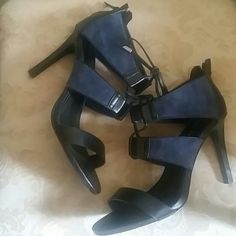 Charles David Lace - up High Heels Never worn, navy and black with heel zipper, leather and suede upper man-made sole, open toe, open lace-up, lightly padded footbed, 4 inch heel Charles David Shoes Heels