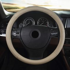 Car leather steering wheel cover for Hyundai Genesis Veracruz Accent Ssangyong Korando Actyon Rexton car interior accessories