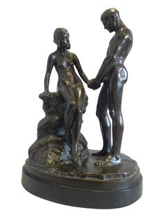 """Carl Max Kruse (German, 1854-1942), """"Junge Liebe"""" (Young Love), patinated bronze figural sculpture on alabaster base"""