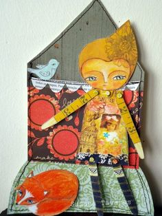 Paper doll and fox set and collage sheet
