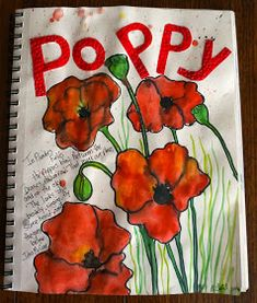 Looking for a poppy themed art project for the art journal….or maybe the bulletin board. This is a very easy poppy project, .