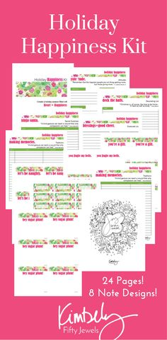 Super charge your Holiday Happiness with this printable download! 24 full color pages to add the Heart+Happiness to your season, including 8 note designs! CLICK Now to download! http://www.fiftyjewels.com/holiday-happiness-kit-download/