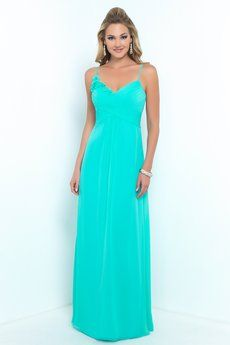 Alexia Designs #4198 Nice alternative to having a one-shoulder dress, this looks nice with the flower decoration. Bella Chiffon bridesmaid dress with spaghetti straps, pleated bust