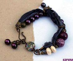 Purple, boho chic, bracelet, pearls, bo hulley ceramic beads, sari silk, lampwork bead Grace Beads by Esfera Jewelry