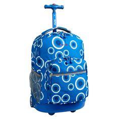 Girls School Duffel Wheels Kids Pink Yellow Blue Speckles Geometric Pattern Rolling Backpack Friendly Fun Big Dots Suitcase Fashionable Wheeling Luggage Lightweight Softsided