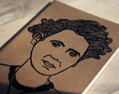 Modern Madame Marie Curie Scientist Linocut Journal Pocket Size Moleskine Notebook Female Nobel Prize Winner