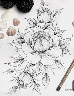 55 Simple Small Flowers Tattoos Drawing Tattoos Ideas For Women This Season flower tattoos Tattoos Kunst Tattoos, Body Art Tattoos, Tattoo Drawings, Sleeve Tattoos, Tattoos Skull, Floral Tattoo Design, Flower Tattoo Designs, Peony Flower Tattoos, Peony Drawing