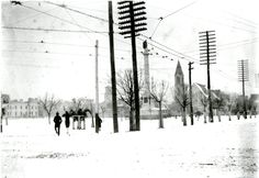 SNOW DAY in Charleston! Marion Square from King and Calhoun Streets, photographed by Dr. Franklin Frost Sams. Possibly 1899. Charleston Museum