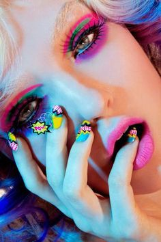"""Pop She Goes"" By Tyna Vargas by LunaXArtistry - pop art -meikki Pop Art Nails, Love Nails, Nail Art, Roy Lichtenstein, Andy Warhol, Pop Art Fashion, Festival Makeup, Photo Makeup, Fantasy Makeup"