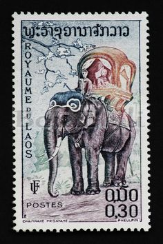 Vintage postage stamp print The Kings Elephant (12 x 8 inches)