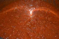 Homemade Spaghetti Sauce in the Crockpot - Mrs Happy Homemaker. Used this September 2015. 3 small batter bowls of tomatoes, 1 small batter bowl of onions/green peppers/celery. Salt, pepper, garlic, italian seasoning. Low x3 hours. Immersion blender. Low for another 3-5 hours.