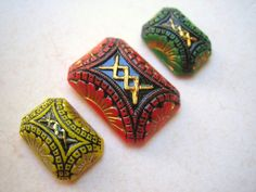 VIntage glass (3) intaglio carved etched enameled stone cab rectangle octagon old 8 x 13mm 25 x18 (3) by a2zDesigns on Etsy
