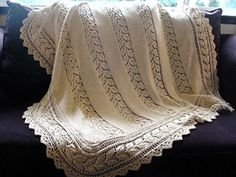 Ravelry: Lace Panelled Baby Blanket pattern by Sarah Bradberry