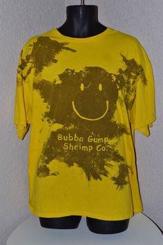 Forrest Bubba Gump Shrimp Co. Muddy Smile Yellow T Shirt XXL Free Shipping #BubbaGump  #smile