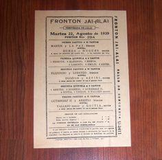 1939 RARE Fronton Cuba Jai Alai Official Game Program Martin La Paz Ochoa Hugues | eBay
