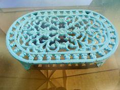My Vesties Wish List Item Oval Cast Iron Trivets sky blue topaz french by VintageFindsFrance