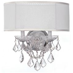 "Crystorama Brentwood 2-Light 15 1/2"" Wide Chrome Wall Sconce -"