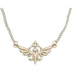 The Legend Of Zelda Necklace (25 CAD) ❤ liked on Polyvore featuring jewelry, necklaces, chains jewelry, gold tone chain necklace, gold tone necklace, golden jewelry and chain pendant necklace