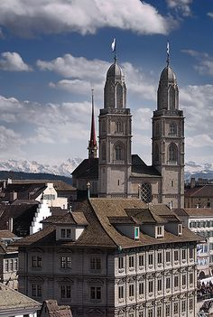 """The Grossmünster church is one of the most famous landmarks in Zurich but even many locals don't know that it's possible to take the 184 steps and walk up the """"Karlsturm"""", which is one of the towers. From here you have breath taking views over Lake Zurich, the Limmat River and the city. On clear days the Alps seem to be only a stone's throw away."""