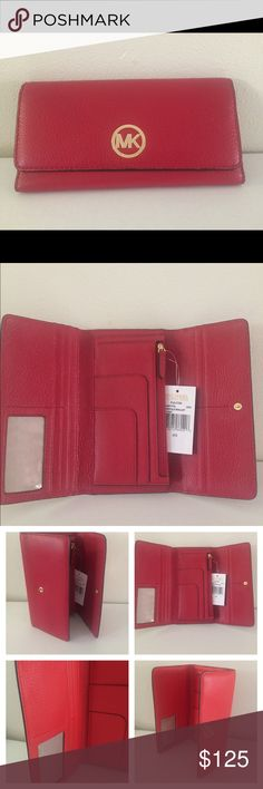 "Michael Kors Fulton Trifold Red Large  Wallet MICHAEL KORS FULTON TRIFOLD RED LEATHER WALLET""  NEW WITH TAGS!  Python Embossed Pebbled leather exterior in red        Front Flap snap closure with Logo MK        Inside 8 Credit Cards Slots and ID Pocket         2 Slip Pockets         1 Zip coin pocket         Cell phone compartment          Multi-function slip pockets        Gold toned hardware        Measures approx 8"" (L) x 4.5"" (H) 1"" (W) Michael Kors Bags Wallets"