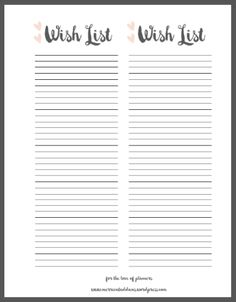 Wish List Free Printable | Adore Planner Co.