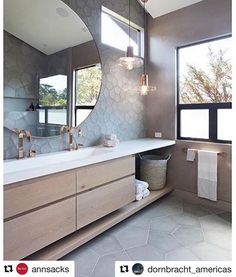 This is a killer bathroom design with countersink. - - This is a killer bathroom design with countersink. This is a killer bathroom design with countersink. We spy… Diy Bathroom Decor, Bathroom Renos, Bathroom Interior Design, Bathroom Renovations, Bathroom Furniture, Interior Design Living Room, Bathroom Ideas, Bathroom Inspo, Ideal Bathrooms