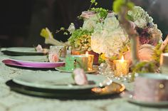 Loose pearls of all sizes provided by Koyal were a cute #vintage touch that I added to the table decor.  You can also see the #pink and #green charger plates and Ghostwood branches also provided by Koyal Wholesale.