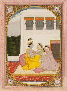 A `miniature` illustration to the Rasikapriya of Keshav Dasol, showing Krishna gazing into the eyes of two ladies, the deity caressing one while the other looks at her reflection in a hand-mirror, the scene on a balcony with trees beyond, within a foliate margin with yellow scrolls on a blue ground and with flower-head corners, within a speckled pink outer border, probably Kangra, gouache heightened with gold. Circa 1800.