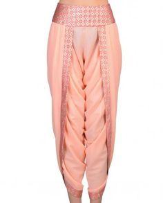 Peach Dhoti Pants - Pink Ribbon - Boutique