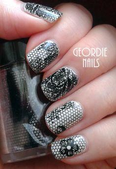Geordie Nails: Black Lace Flower Nail Foil
