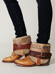 belts wrapped around ankle (Jones) boots by Free People