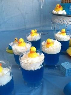 Rubber Ducky jello   CatchMyParty.com - Blue Jello with Cool Whip for 'bubbles' & rubber ducky sitting on top of topping