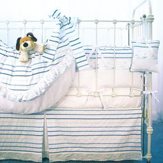 Set Sail Baby Bedding from @PoshTots #sail #baby #boy #nursery #bedding #crib #blue #beach #theme