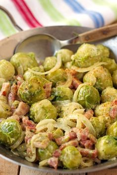 "The bitterness of brussels sprouts disapears thanks to smoked bacon and onions. Try this recipe by a French girl ""cuisine"". Healthy Brussel Sprout Recipes, Healthy Salad Recipes, Vegetarian Recipes, Cooking Recipes, Bacon Recipes, Vegetable Recipes, Food Inspiration, Good Food, Stuffed Peppers"